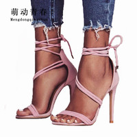 New Women Pumps 2018 Gladiator Peep Toe Thin Heels Shoes Fashion Women Ankle Strap Lace Up Party Shoes Women Summer High Heels