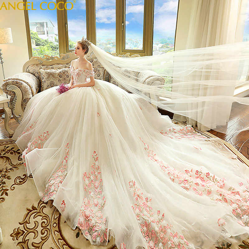 a96bc3482c2 ... Pregnant Women Pregnancy Maternity Wedding Dresses 2018 New Bride  Married Word Shoulder Princess Dream Wedding Simple ...