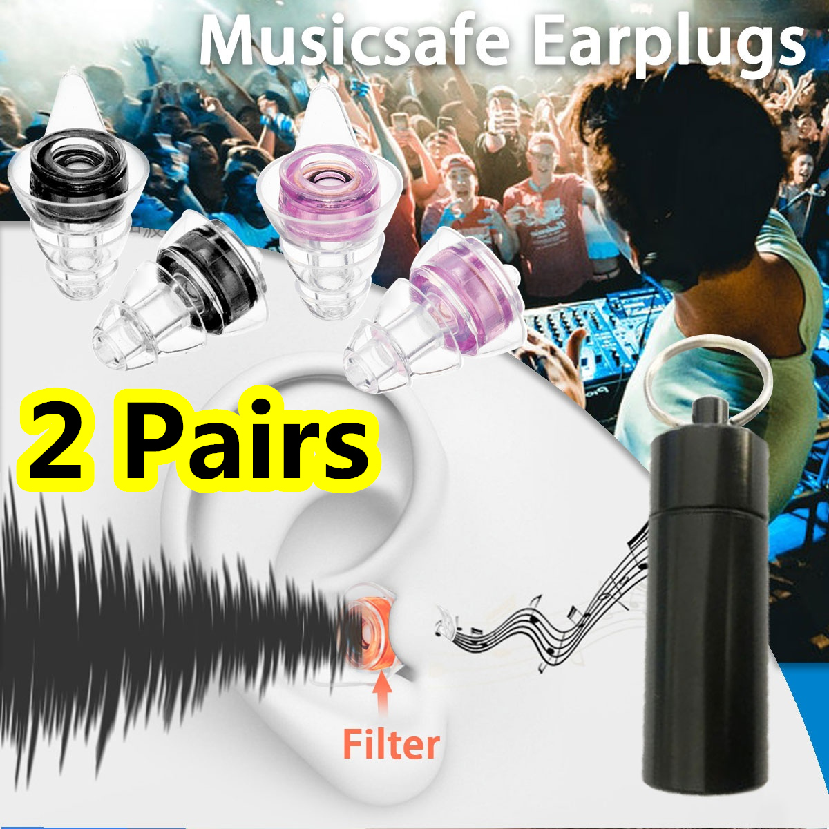 купить 2Pairs Noise Cancelling Hearing Protection Earplugs Reusable Waterproof Silicone Ear plugs For Concerts Musician Motorcycles по цене 1098.84 рублей