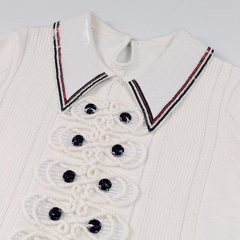 A New Abiti Il Donne Lunga Q452 Streetwear Spring Del Nero Qualità Designer Alta 2019 Manica Di bianco Modo Maglia Lavorato Pista Bordare Vestito dxadU