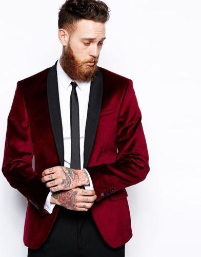 3-1 Shawl Lapel Men\'s 2 Piece Wedding Velvet Groom Tuxedos Groomsman Best Man Suits