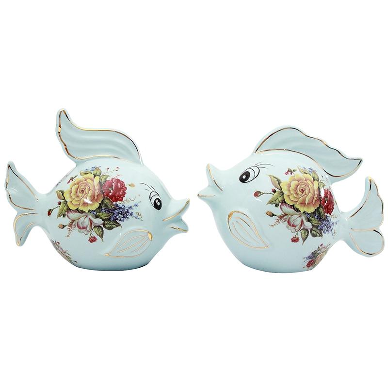 Современная Абстрактная фарфоровая семейная Статуэтка рыбы, керамическая статуя животного, украшение в китайском стиле, подарок и украшен... - 5