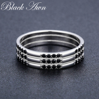 [BLACK AWN] Classic Round Finger Ring 925 Sterling Silver Jewelry Black Spinel Wedding Rings for Women C474
