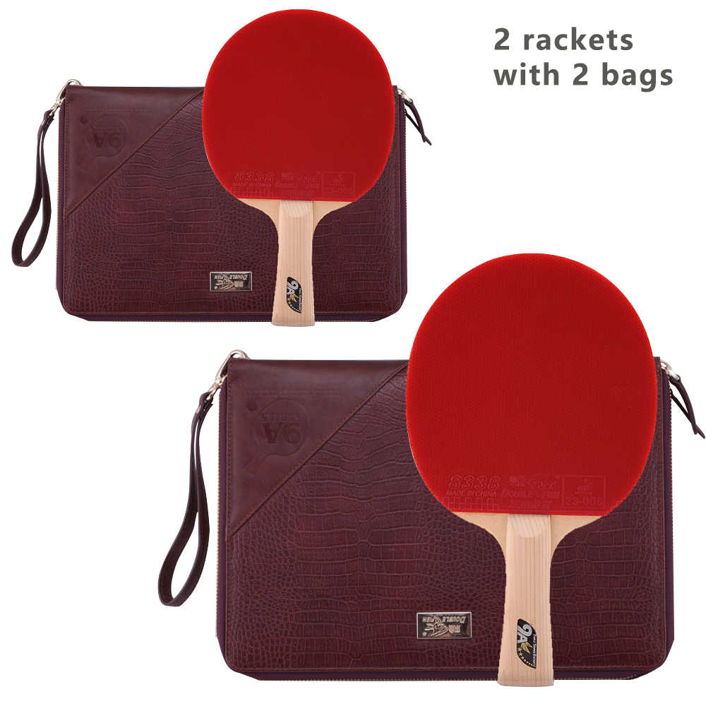 Double Fish 9A 9stars Cypress Carbon Fiber Table Tennis Bat Pingpong Racket with quick attack Pimples in 2rackets 2Leather Bags