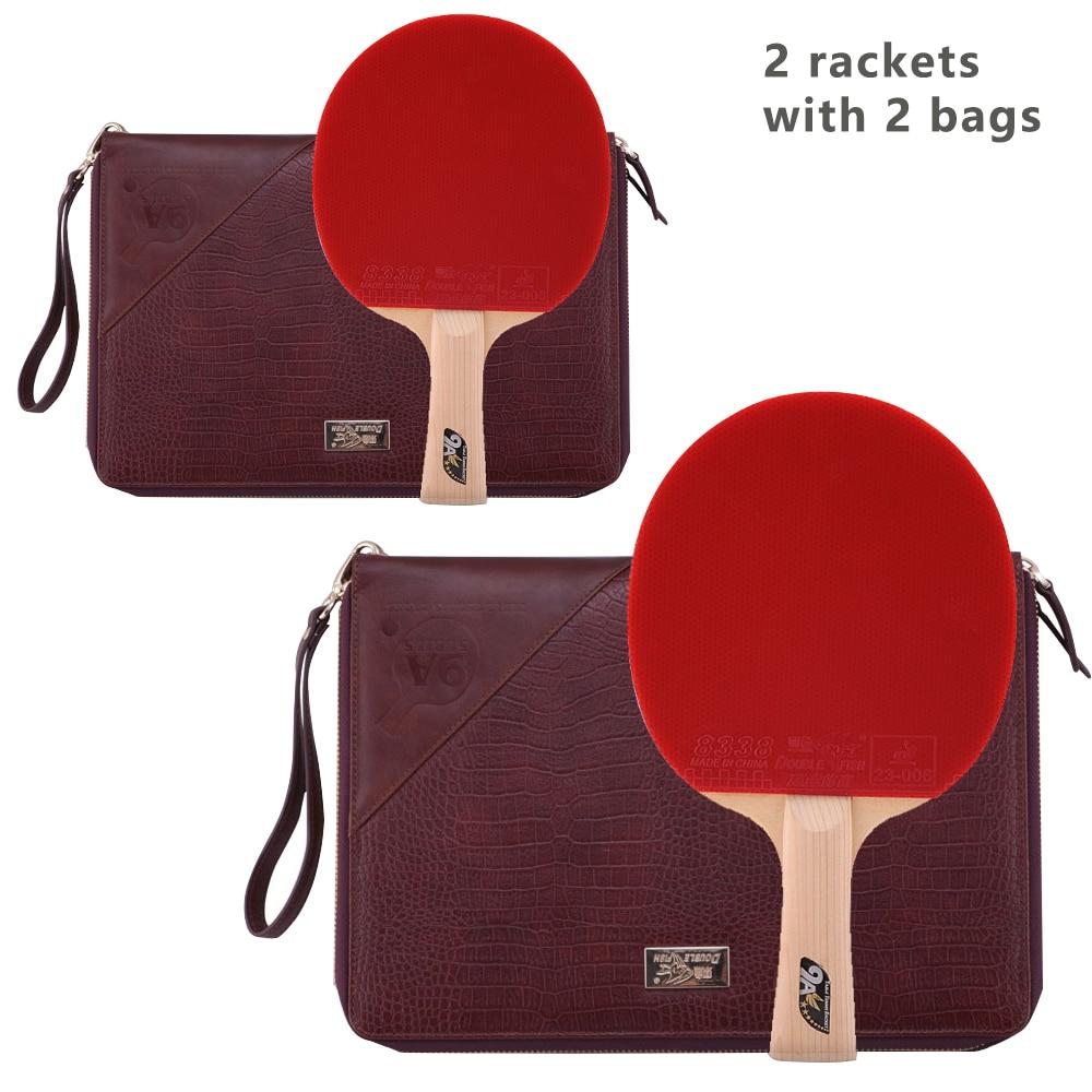 Double poisson 9A 9 étoiles cyprès fibre de carbone Tennis de Table batte de ping-pong raquette avec attaque rapide picots en 2 raquettes 2 sacs en cuir