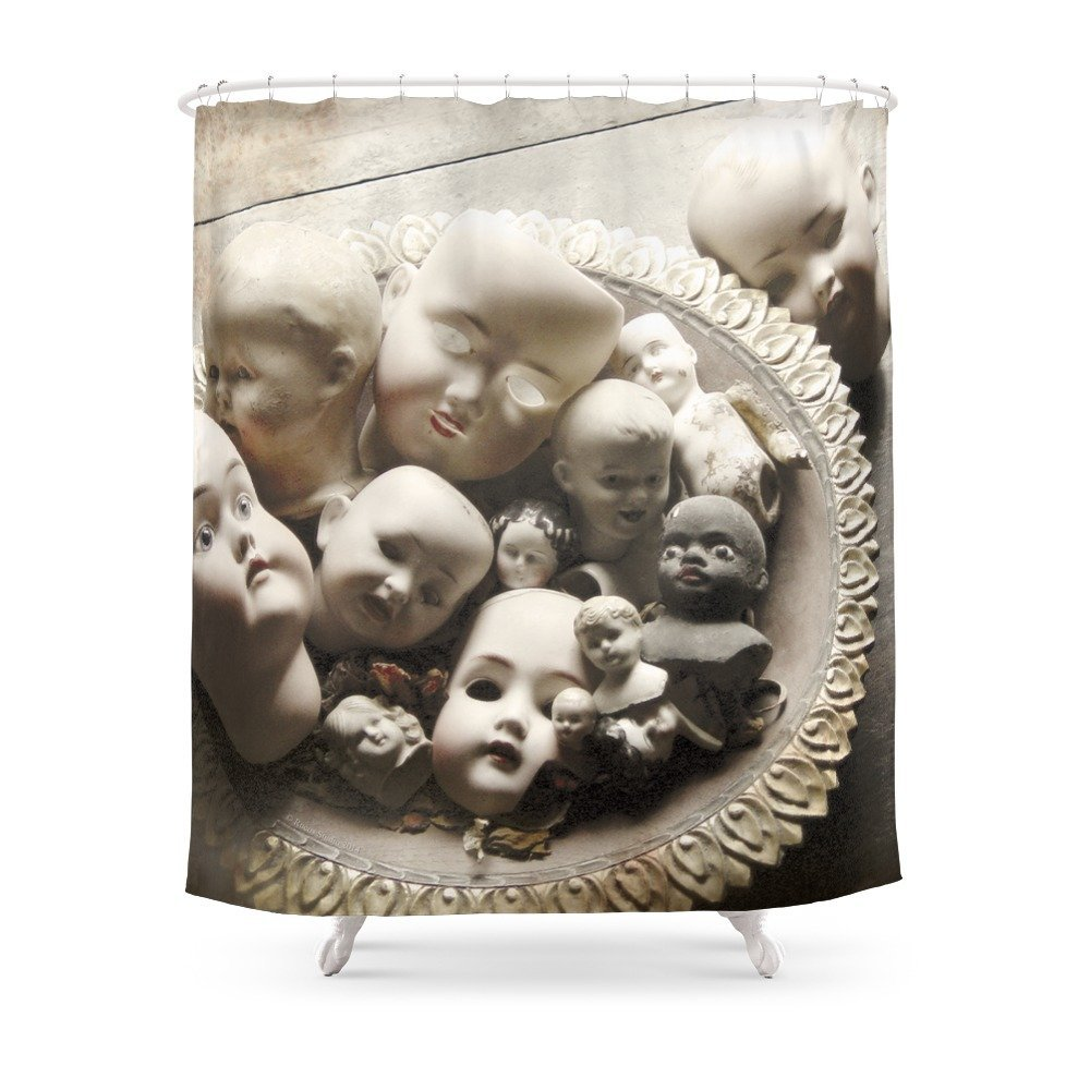 Rucus Studio Antique Doll Heads Shower Curtain Custom Curtain For Bathroom Waterproof Polyester