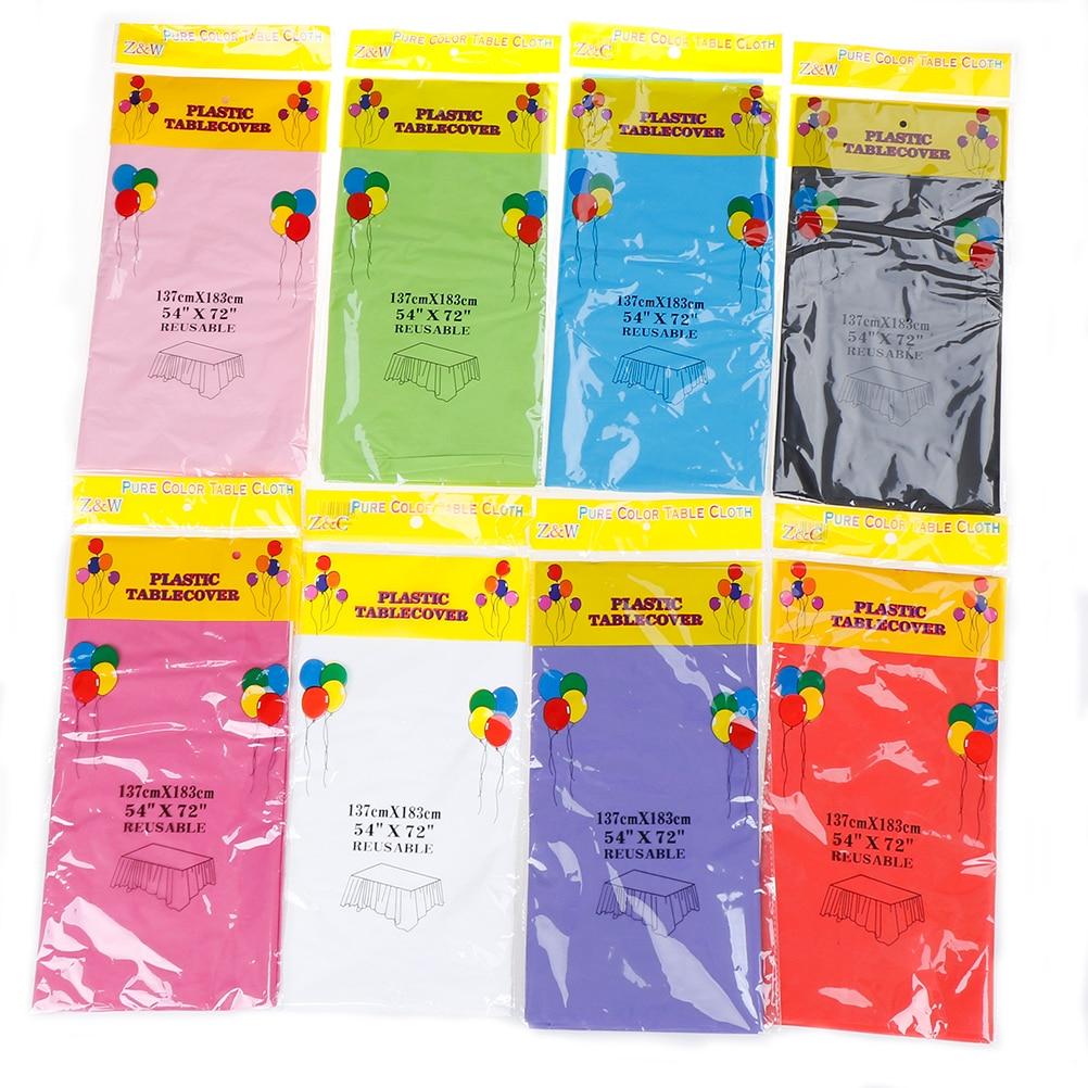 Desechables 1 unid manteles de plástico cumpleaños Color del ...