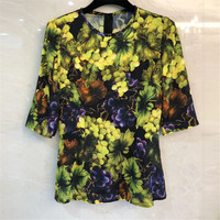 Для женщин блузка летний топ с круглым вырезом Половина рукава блузки Для женщин 2018 Мода Цветочный принт шелковая блузка