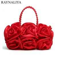 Women Satin Rose Pure Color Evening Bags Wedding Handbags Sweet Ladies Hand-rolled Totes Packs Dinner Bride Bag Smyxst-e0104