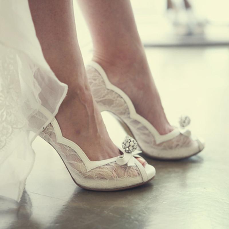 Strass Demoiselle Heels Bal Toe D'honneur Chaussures De Luxe Talons Blanc Mariée Mariage Partie Peep White Pompes Hauts Dame Dentelle 10cm n7HwnqZY