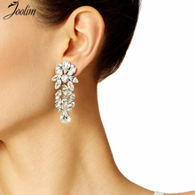 JOOLIM Black Friday Deal Luxury Transparent Chandelier Earring Cocktail Earring Brand Jewelry Earring Wholesale(China)