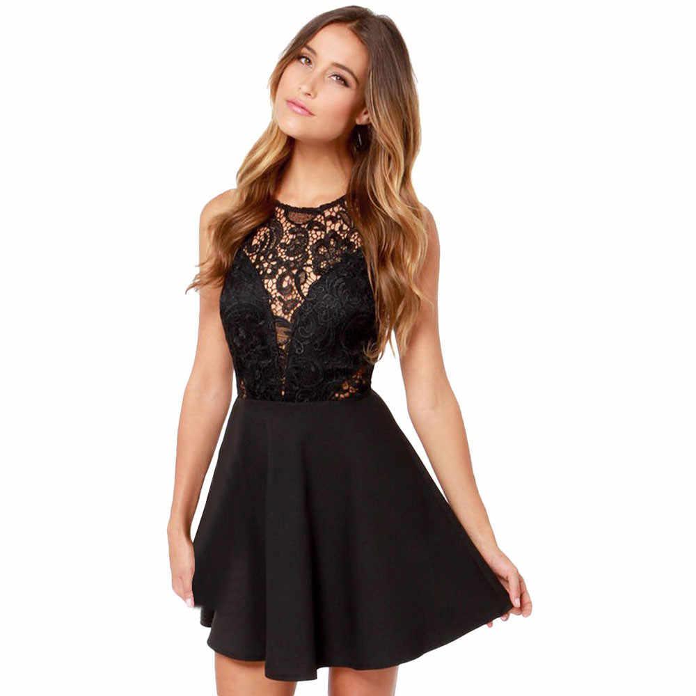 2019 femmes été décontracté dos nu bal Cocktail dentelle courte Mini robe noir Sexy balle robe en mousseline de soie taille haute