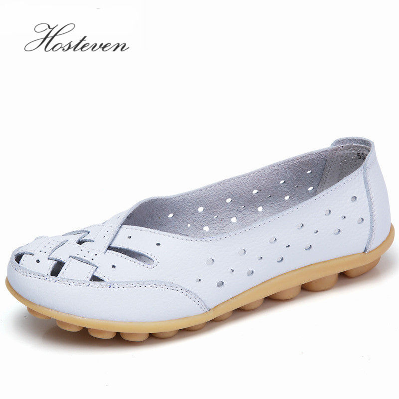 2017 Women's Shoes Casual Genuine Leather Woman Flats Slip On Female Loafers Lady Boat Shoe Big Size 35-44