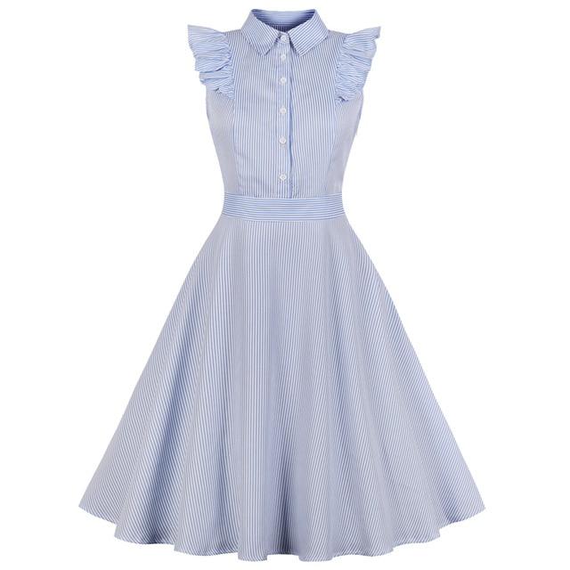 5ef4ce00d Kenancy 1960s Audrey Hepburn Swing Rockabilly Vintage Dress Plus Size Blue Stripe  Print Ruffles Retro Dress Party Vestidos 4XL