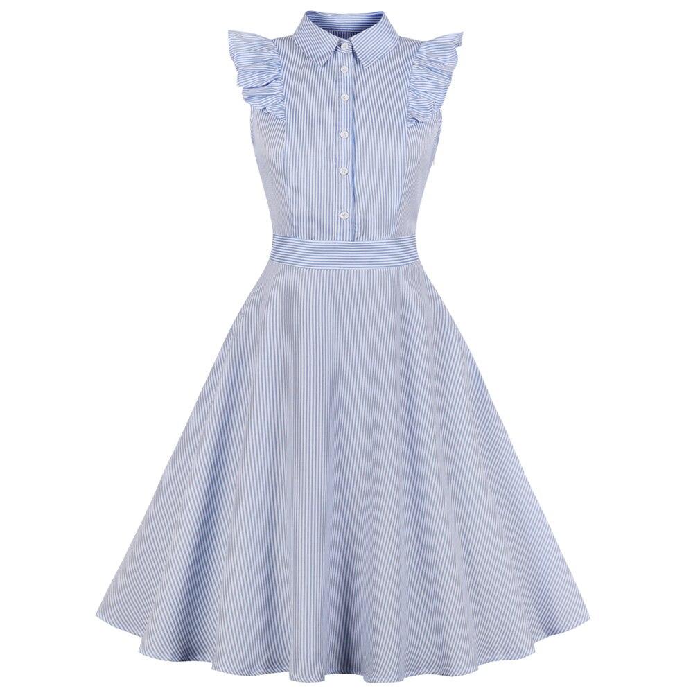 Wipalo Stripe Vintage Dress Women Ruffle Button Up Sleeveless Summer  Dresses Plus Size Cotton A-Line Party Dress Femme Vestidos