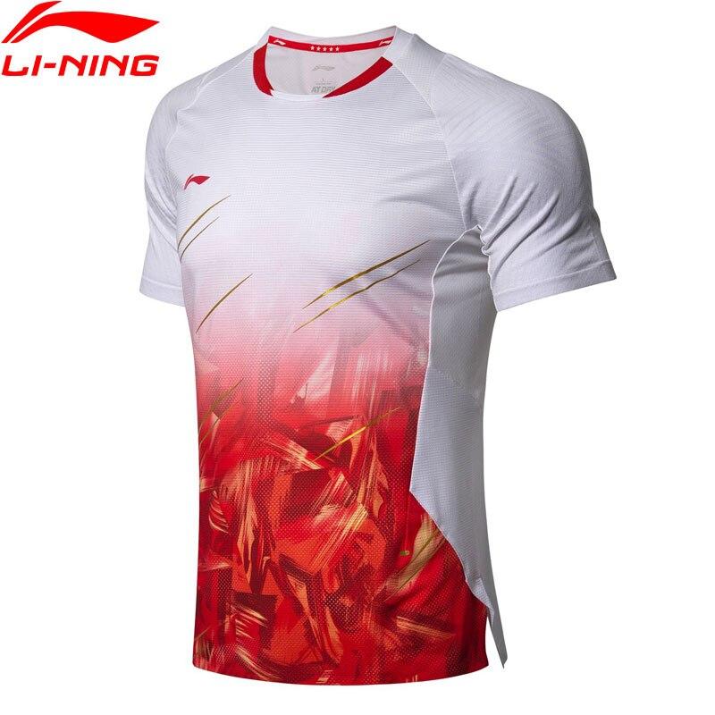 (Soldes) T-Shirts de Badminton li-ning pour hommes à la compétition sèche contre les bactéries lors de la compétition statique Top doublure sport T-Shirts AAYN305 MTS2888