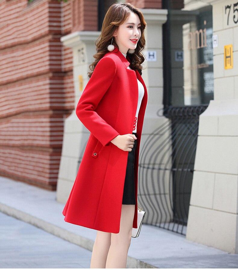 Outerwear Overcoat Autumn Jacket Casual Women New Fashion Long Woolen Coat Single Breasted Slim Type Female Winter Wool Coats 21