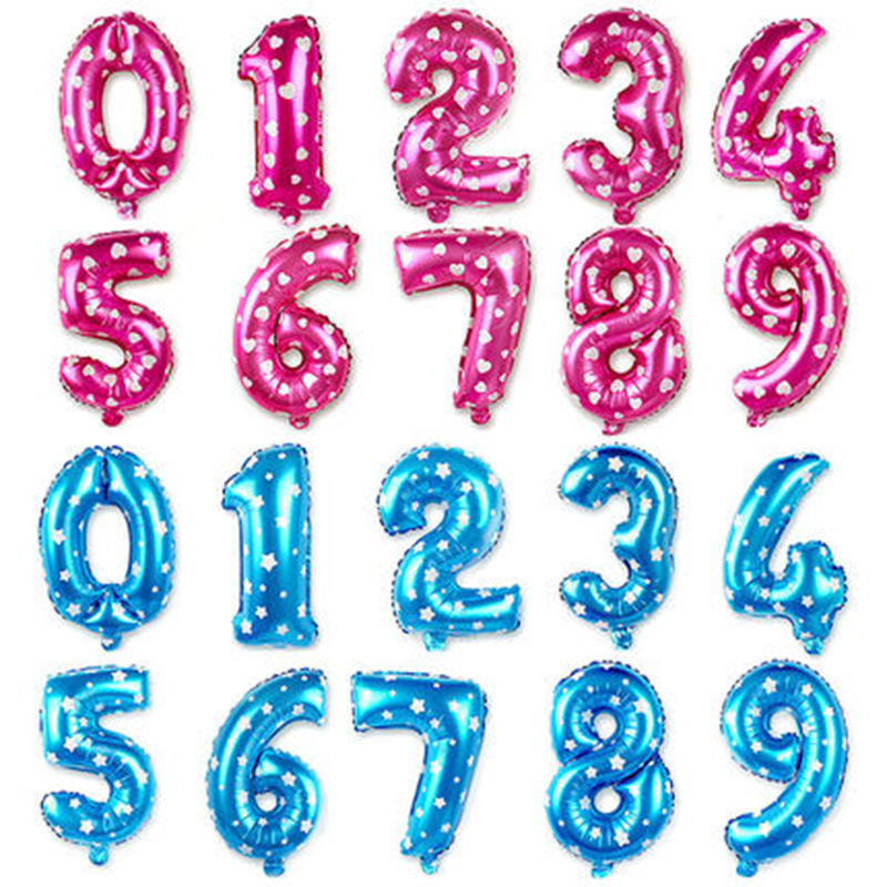 16 32 Inch Number Foil Gold Silver Blue Digital Globos Balloons For Wedding Birthday Party Decoration 4