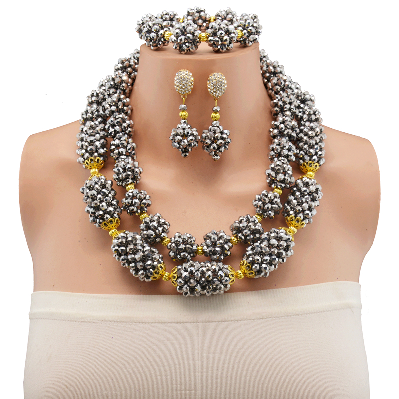 2017 New Hot Sale Big Costume Dubai Jewelry Set Siver Color Top Gorgeous Nigerian Wedding African Beads Jewelry Set For Women2017 New Hot Sale Big Costume Dubai Jewelry Set Siver Color Top Gorgeous Nigerian Wedding African Beads Jewelry Set For Women