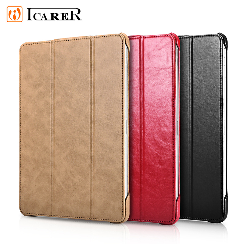ICARER Luxury Ultar Thin Case for New Ipad Pro 11 2018 Tablet Genuine Leather Smart Cover Case for Ipad Pro 11 Inch Case Stand