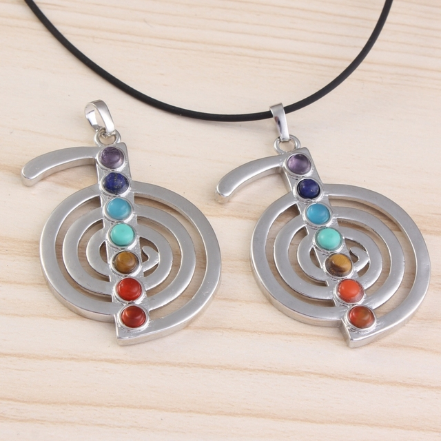 Silver Plated Reiki Stone Beads Energy Symbol Pendant