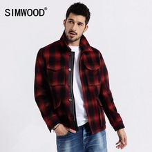 SIMWOOD 2020 spring New Woolen Plaid Jacket Men Fashion Cont