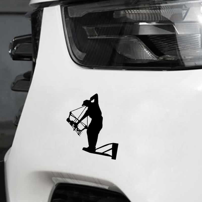 QYPF 12.4*14 سنتيمتر للاهتمام القوس هنتر الرماية الرياضة اللياقة البدنية ديكور ملصق سيارة الفينيل اكسسوارات خيال C16-1752