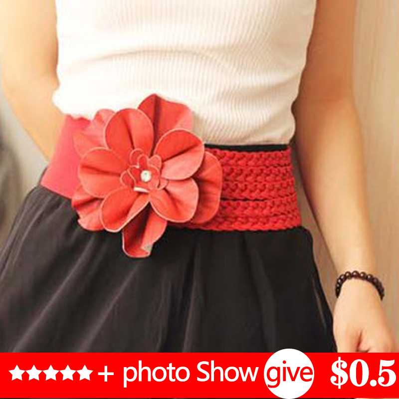 New Womens Wide Belts Woven Flower Point Drill Elastic Elastic Waist Gauze Ladies Pu Leather Ladies Elastic Band Twotwinstyle