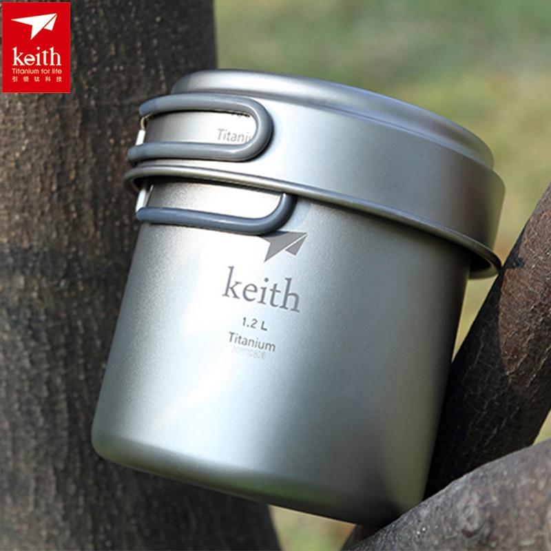 цена на Keith Titanium Pot Titanium Cookware Set Caldron & Frying Pan 400ml+1.2L Hiking Hunting Picnic Camping Cooking Set Ti6013