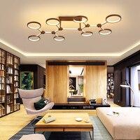 New Design Aluminum rings Modern Led chandeliers ceiling For Livingroom Bedroom led avize Brown frame led chandelier lighting