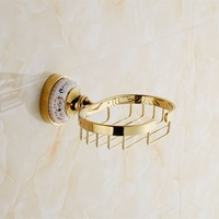 Gold Brass Soap Dish Holder Draining Cup Waterproof Skid Durable Bathroom Shower Toilet Soap Holder Soap Dish Wall Mounted 9087K