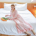 Free Shipping High Quality Women Nightdress 100% Cotton Long-Sleeve Lace Nightgown Sweet Princess O-Neck Long Sleepwear Female