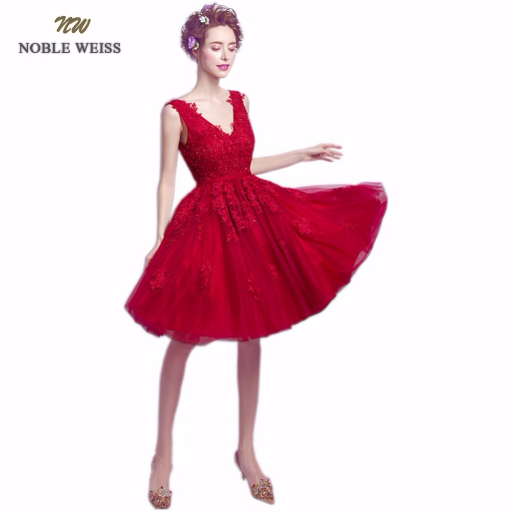 NOBLE WEISS Short   Prom     Dress   High Quality Fashion V-Neck A-Line Appliques Beading Party Gown   Dresses