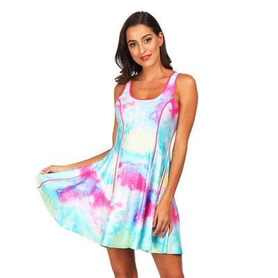 2019 2019 hot sale digital printing women 39 s two faced sleeveless slim dress European and American fashion sexy Dress in Dresses from Women 39 s Clothing