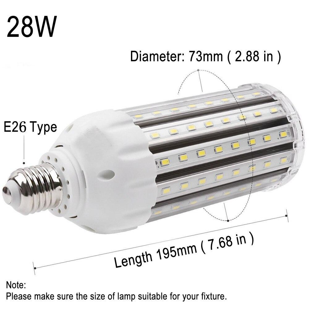 High CRI95+ E26 LED Corn Light 28W AC110-265V Ultra Bright 6000K Pure White 3500LM for Street Lamp Kitchen Office Room Factory