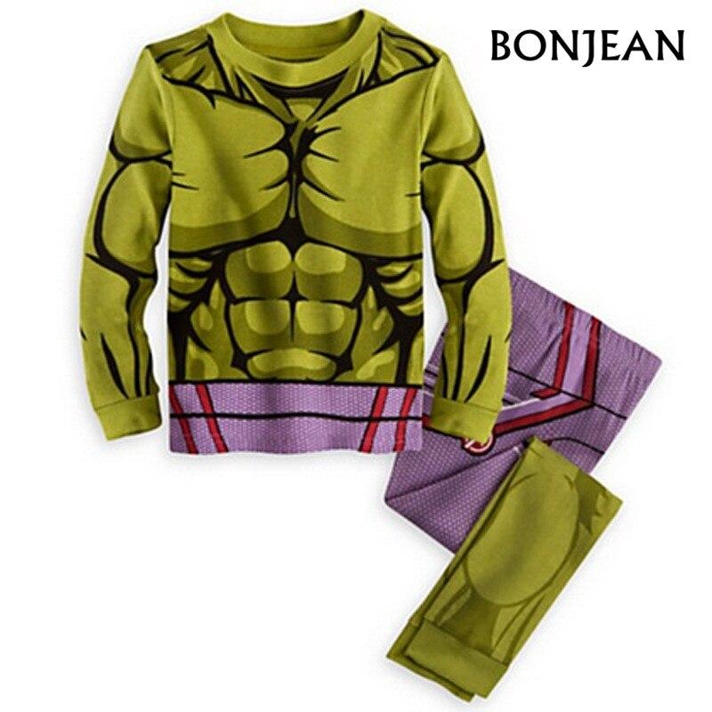 8acd7a5b 2017 Spring kids pajamas clothes for boys Hulk superhero Batman Iron Man  costume Spiderman children sleeping wear clothing sets