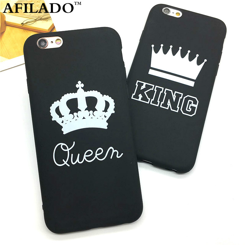 Fashion Brand King Queen Soft TPU Ultra Thin Back Covers for IPhone 6 6s Phone Cases Silicone Luxury Crown Slim Shell Coque