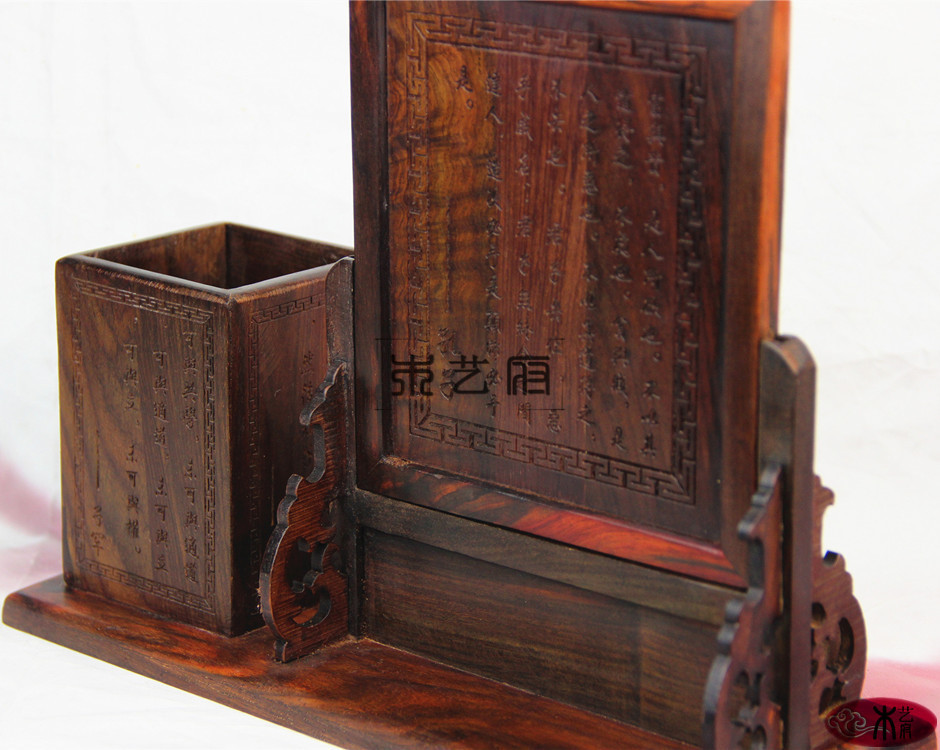 Wooden house red wood pen wood table plaque antique ornaments home office suite practica ...