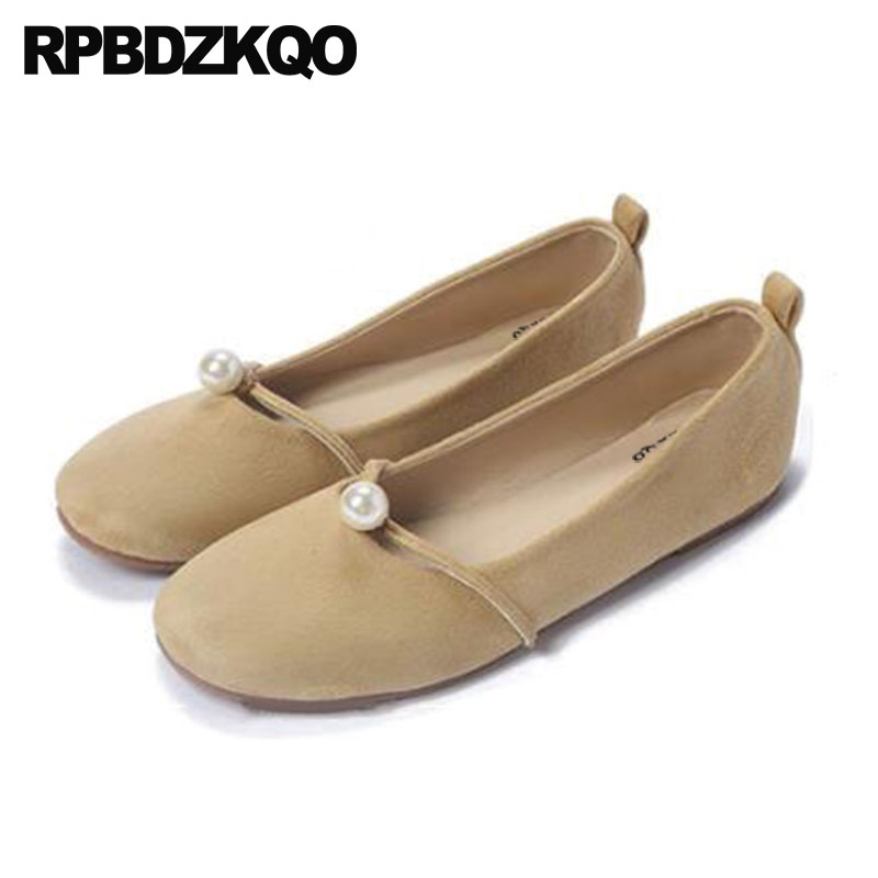 Shoes Suede Large Size 33 43 Designer Vintage Mary Jane Pearl Square Toe 11  China Nude Soft Ballet Flats Women 10 42 Ballerina 2873101619fb