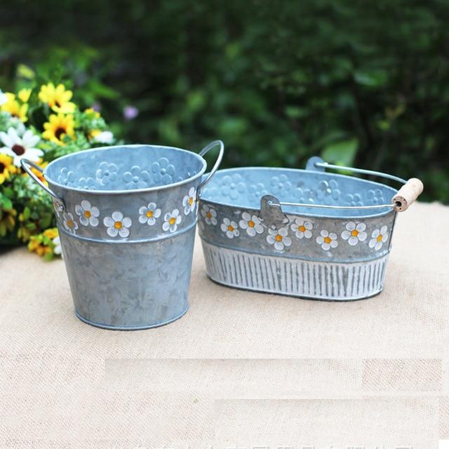 1pcs Little Daisy Iron Flower Pot Balcony Garden Pots Planters Metal Bucket Decoration Artifical Succulents Nursery