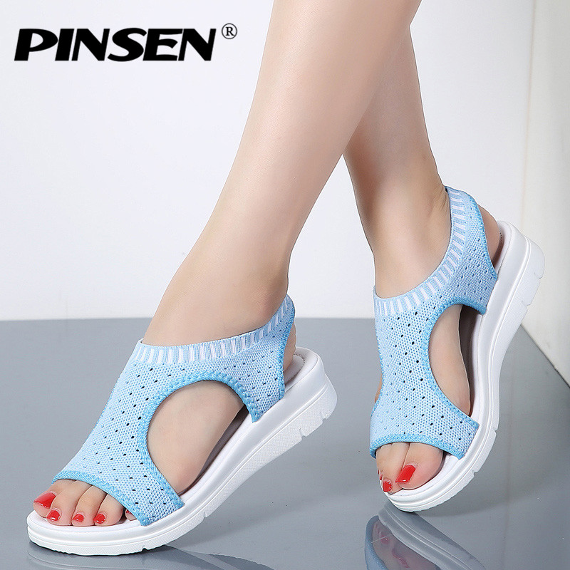 купить PINSEN 2018 Sandals Women Summer Shoes Breathable Female Shoes Ladies Slip On Flat Platform Sandals Shoes Woman Sandalias по цене 1101.78 рублей