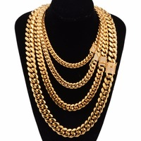 8/10/12/14/16/18mm Yellow Gold Color Rhinestone Stainless Steel Cut Miami. Cuban Chain Men's Necklace Jewelry 18 32inch