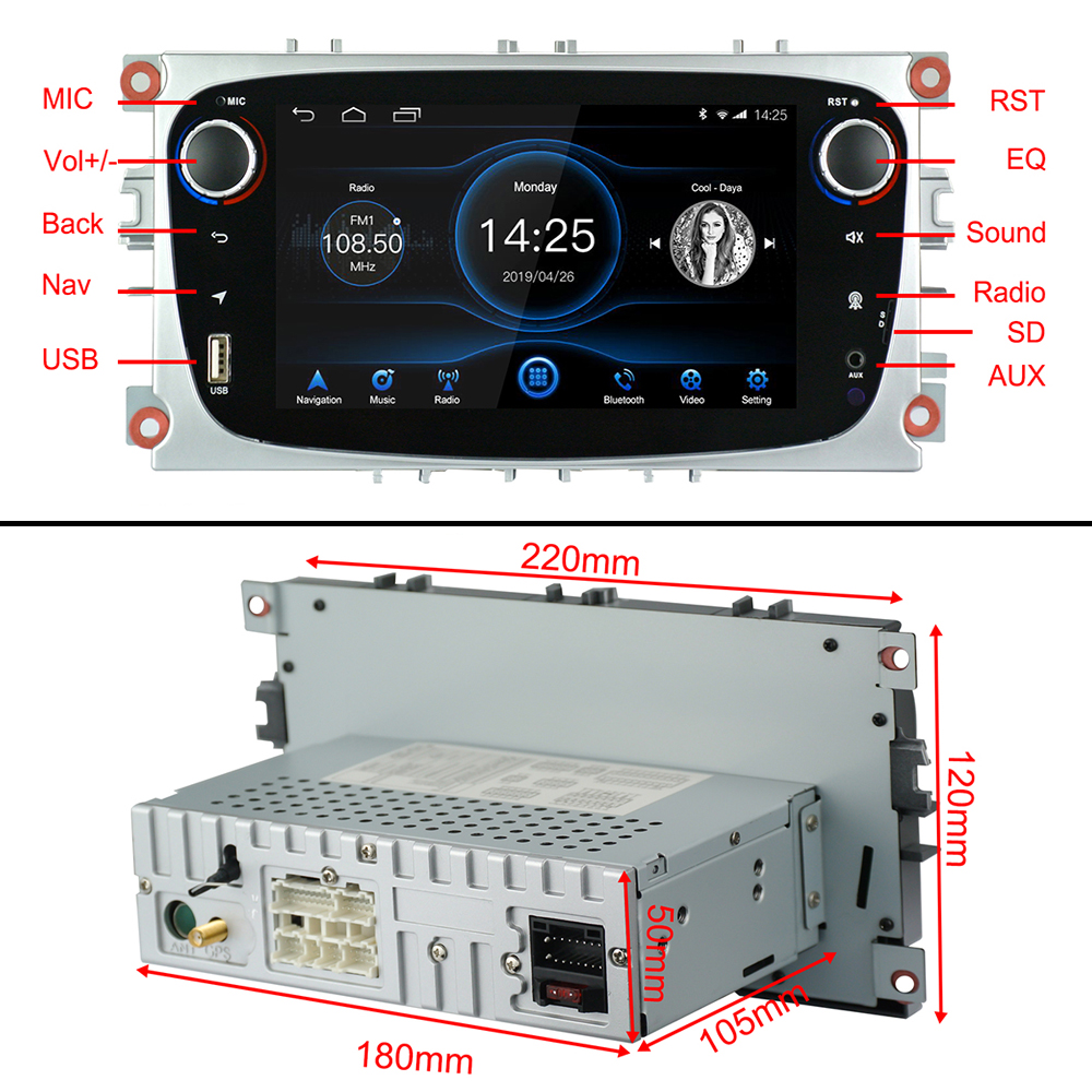 Android 8.1 voor Ford Focus Mondeo Galaxy S max Auto Stereo Autoradio 2GB DDR3 Octa Core 7 Scherm touch GPS Bluetooth Autoradio WiFi - 5