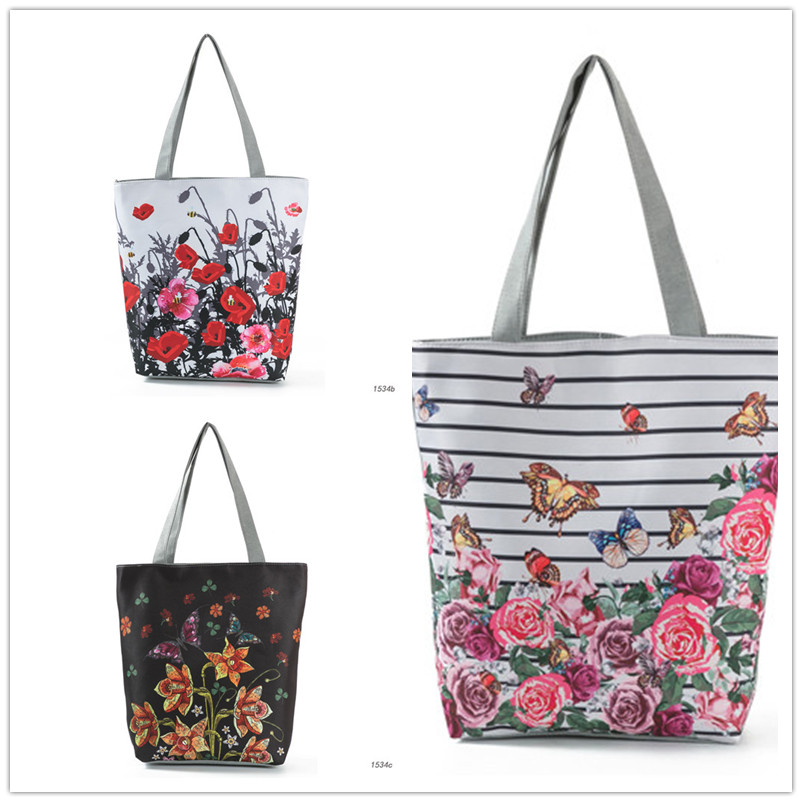Miyahouse Colorful Flower Design Beach Bags Female Canvas Casual Tote Handbag Striped And Butterfly Print Shoulder Bag Bolsa 4