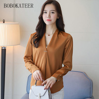 BOBOKATEER Blusas Feminina Ver O 2017 Long Sleeve Casual Chiffon V Neck Top Blouse Shirt Women