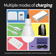 Portable LED Bulb Solar Light 15W Outdoor Camping Lamp Power Garden USB Rechargeable Emergency 5V