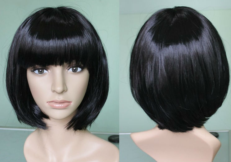 Glueless Short Bob With Bangs Lace Front Full Lace Wig