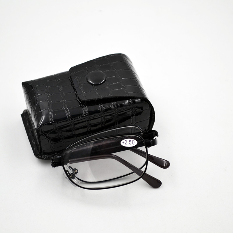 New Arrival Black Metal Folding Reading Glasses With Leather Case Foldable Reading Eyeglasses Free shipping