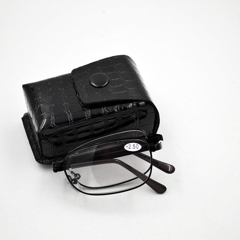 587b4ceba Nova Chegada Preto de Metal Dobrável Óculos de Leitura Com Estojo De Couro  Dobrável Óculos de Leitura óculos com dioptrias navio Livre A1
