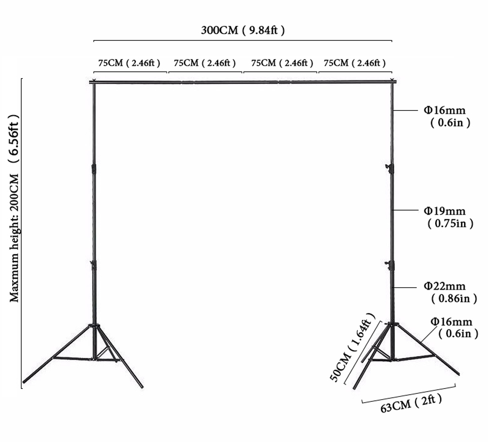 6x10ft support photo background stand 2x3m backdrop Stand for photo studio accessory support eqipment fotografia lightdow 2x3m 6 6ftx9 8ft adjustable backdrop stand crossbar kit set photography background support system for muslins backdrops